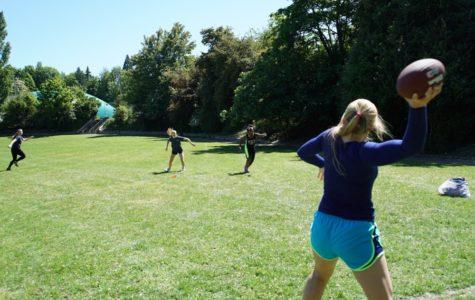 Annie Wright powderpuff players practice in Garfield Park