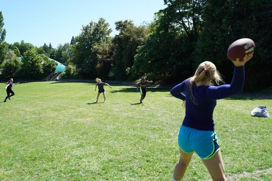 Annie Wright powderpuff players practice in Garfield Park