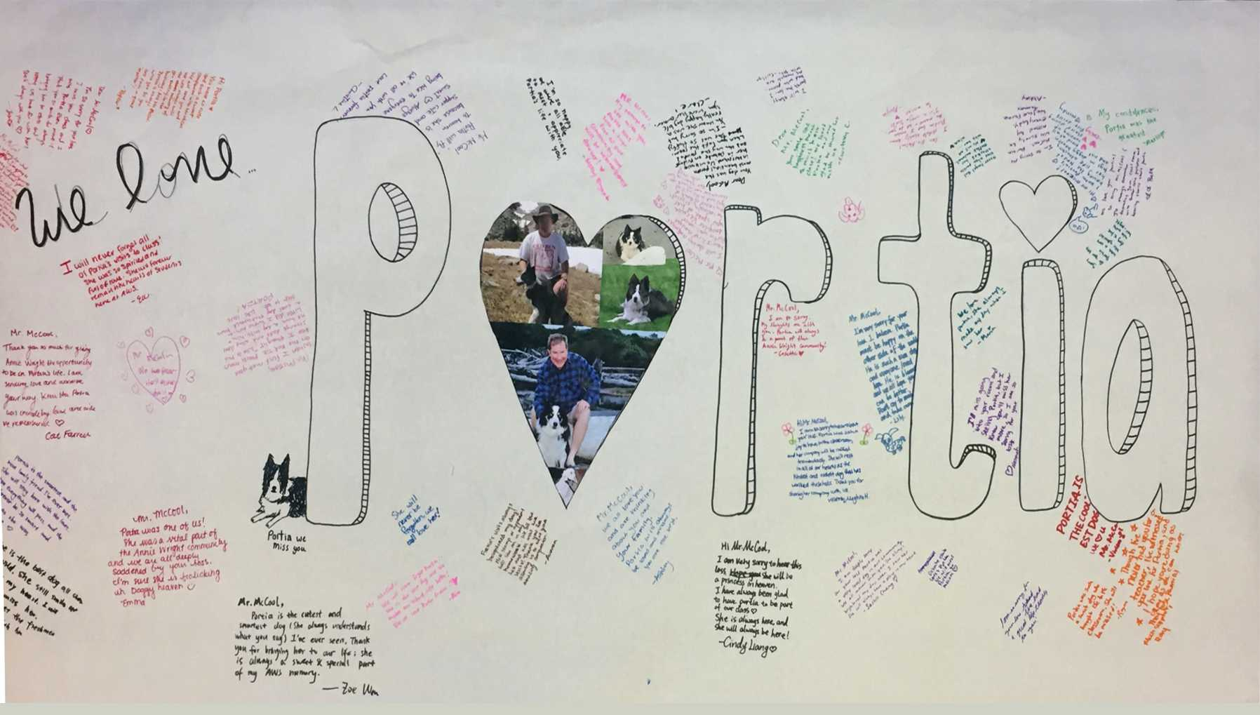 The student body's banner honoring Portia.