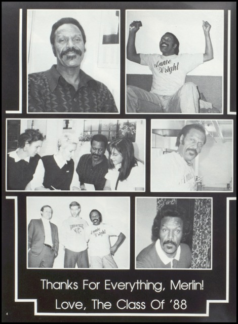Merlin is honored in the Annie Wright yearbook of 1988