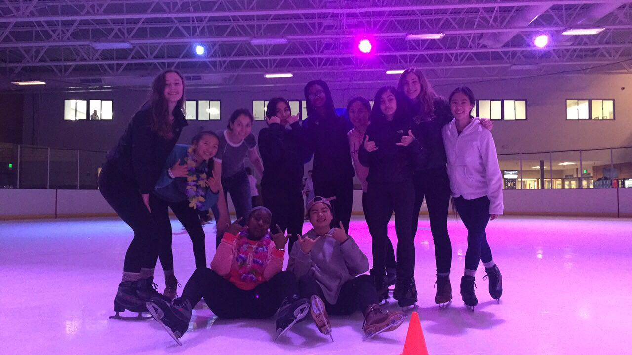 Sophomores enjoy ice skating, one of the many activities available at Sprinker during Mountain Day.