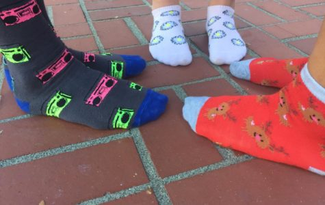 Fun socks are one of the smaller prizes for Casino Night.