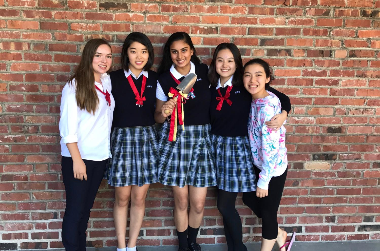 Seniors Rachel Holland, Mayako Matsuno, Harmeet Dhami, Blair Li, and Mai Kondo celebrate finding the spade.
