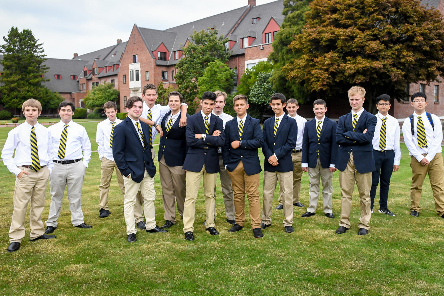 The Upper School boys stand at the site of where their new school will be built. Photo courtesy Oona Copperhill