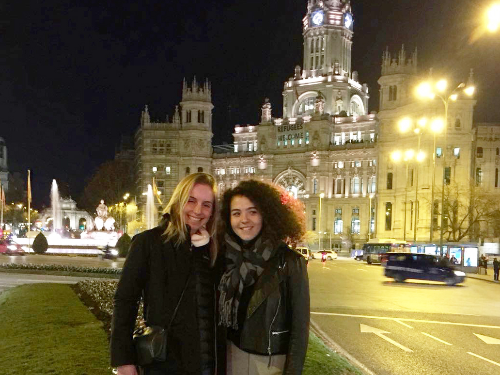 Abby Givens, left, with her exchange sister, Laura. Abby is half way through her exchange at Casvi School near Madrid.