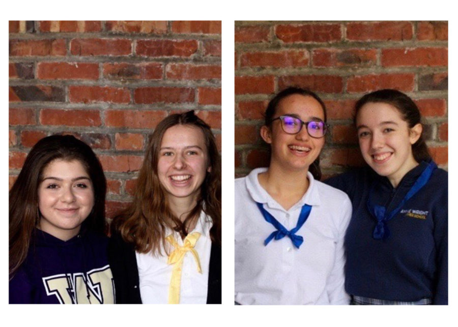 From left: French exchange student Ilona Sechet with her host sister Hannah Altayar, and French exchange student Emeline Meunier and her host sister Nina Doody. The French students travelled to Tacoma for the first half of the exchange program on December 26. They will attend Annie Wright for seven weeks.