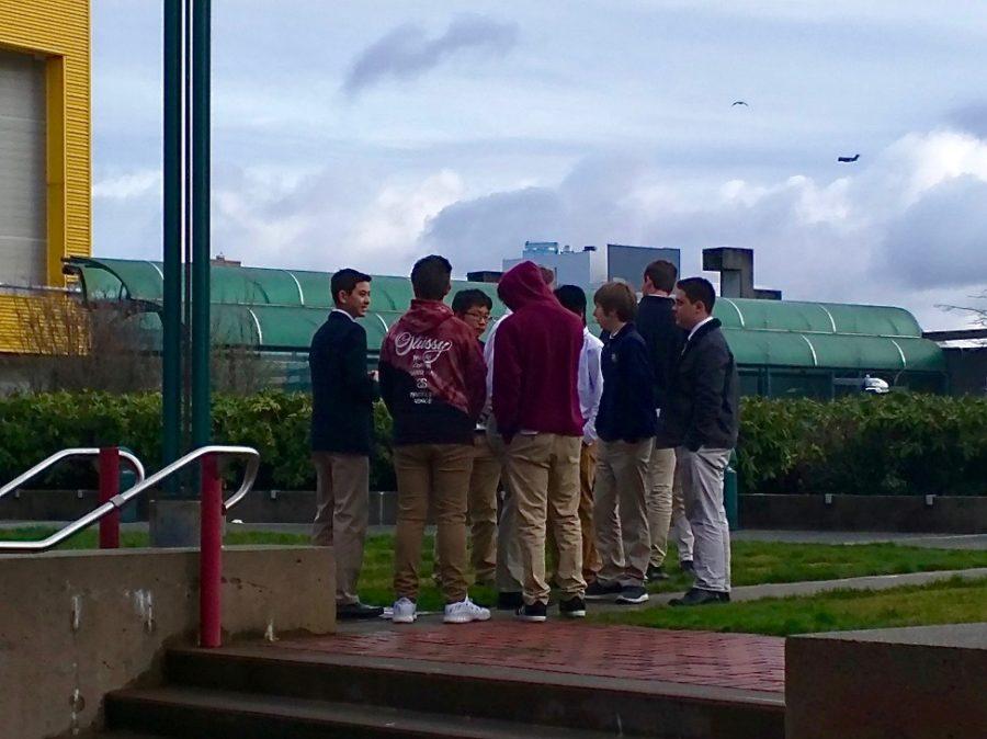 Upper School boys participate in a nationwide school walkout to advocate against gun violence in schools.