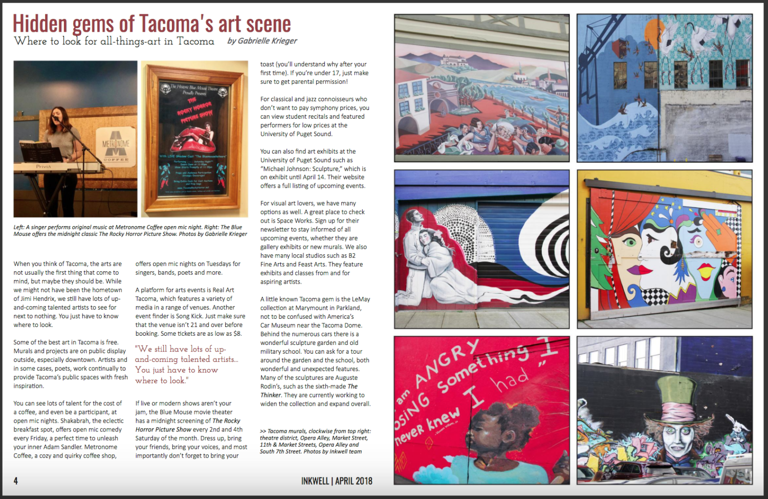 a spread from Inkwell's April Arts Issue