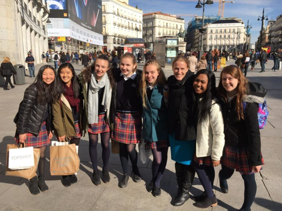 Emily Stokes, 3rd from right, in Madrid with Annie Wright students who went on the exchange to Casvi School earlier this year