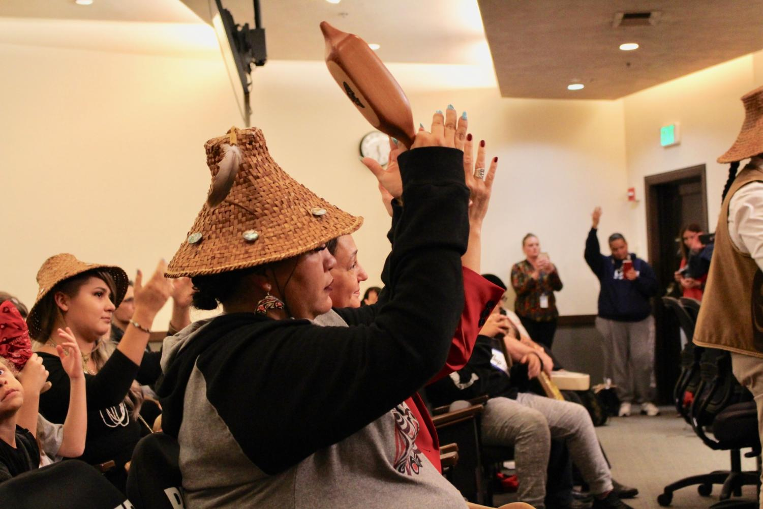 Puyallup Tribe members performed a drum ceremony at City Hall on Tuesday after City Council proclaimed the second Tuesday of October as Indigenous Peoples' Day.