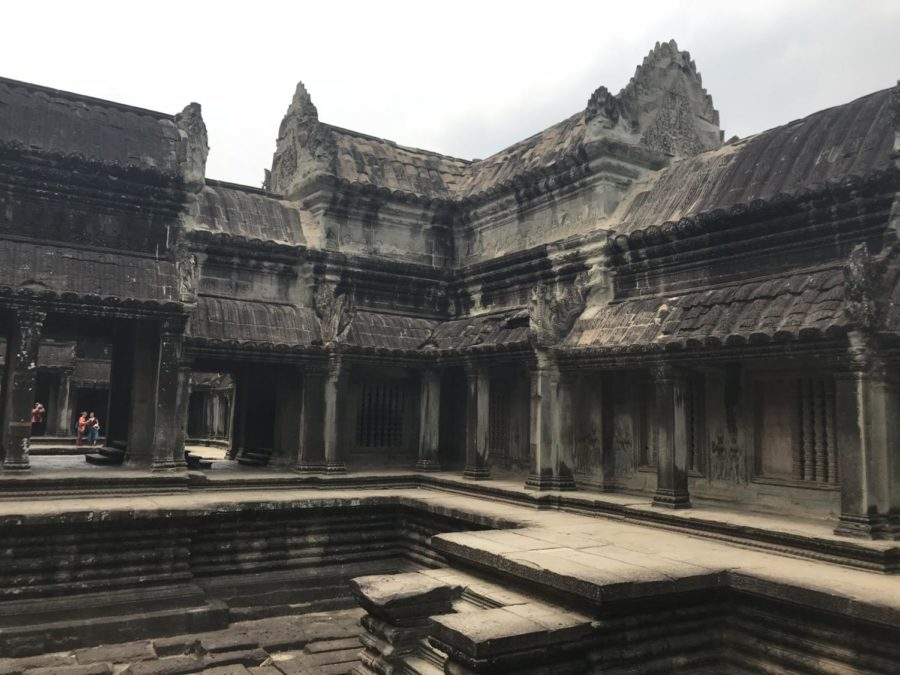 In the center of Angkor Wat was a large swimming pool of holy water (now empty), in which the king would dip once a day to connect with heavenly spirits and cleanse himself of sins.