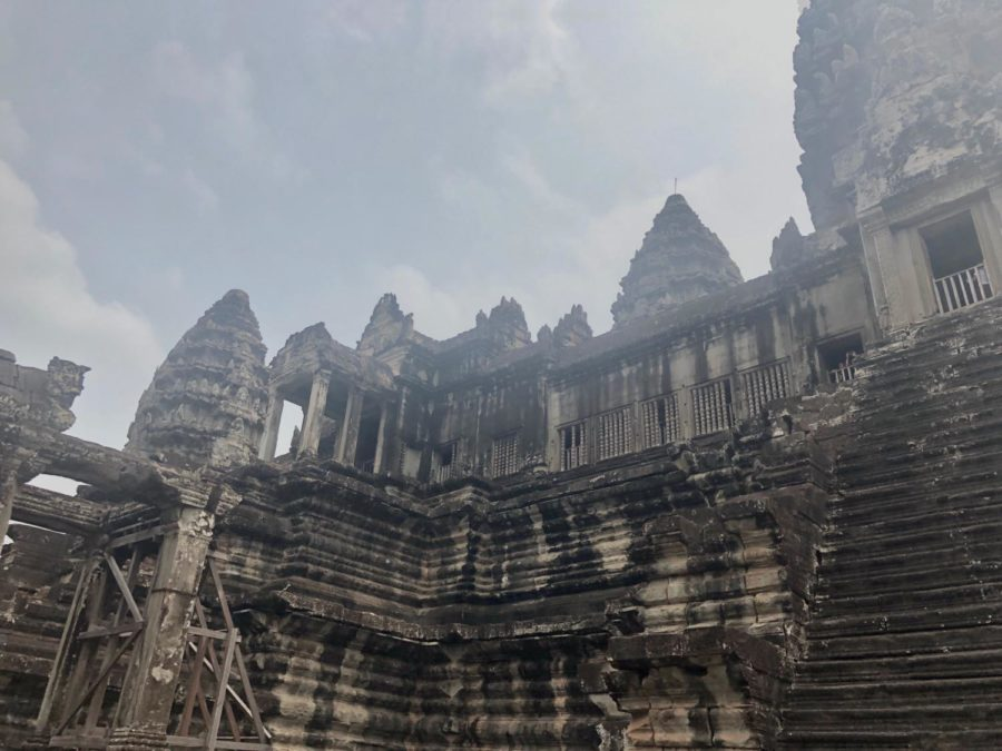 The biggest temple, Angkor Wat, features many steep staircases, but there was only one staircase for the king.