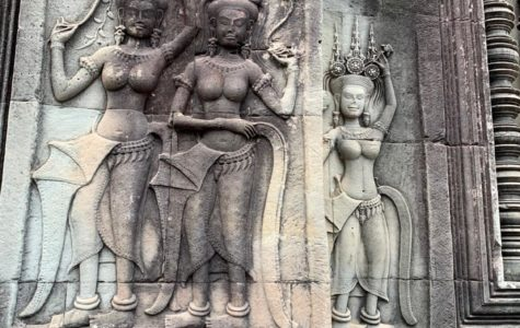 These carvings on a wall of Angkor Wat represent a few of the 2000 concubines the king had in this temple.