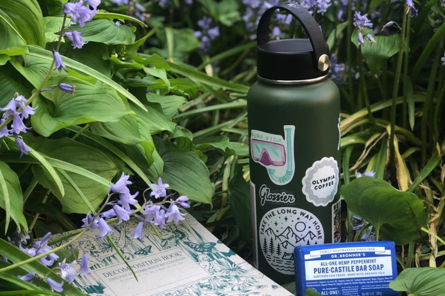 A+decomposition+notebook%2C+Hydroflask+and+Dr.+Bronner%27s+bar+soap+are+three+environmentally+friendly+products.