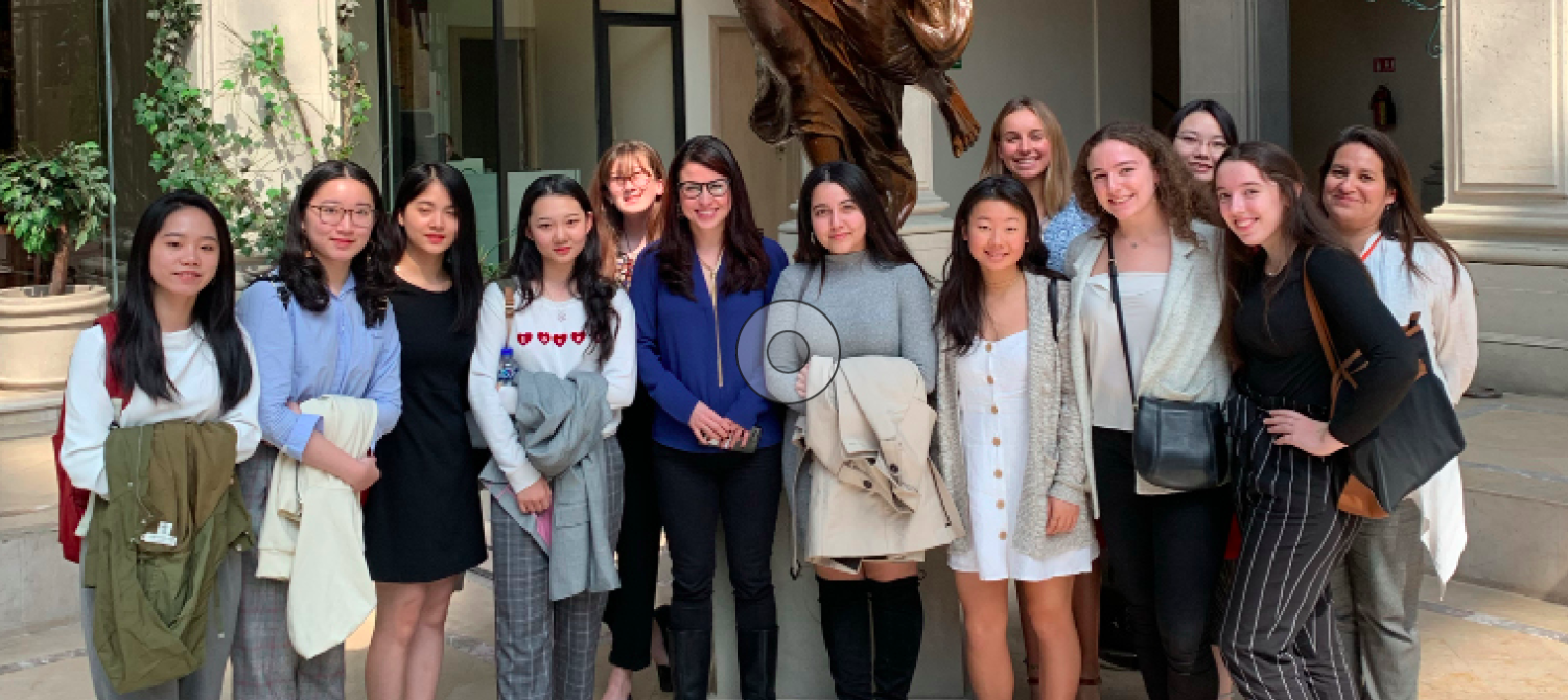 Mexico's youngest and only female pollster, Lorena Becerra Mizuno, center in blue jacket, with Annie Wright Upper School Girls' Business & Entrepreneurship Program in Mexico City.  Photo courtesy of Jake Guadnola.