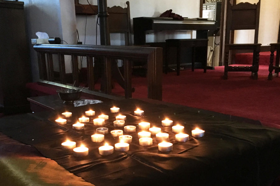 Some students lit candles in the chapel, which was open as a space for mindfulness, reflection and prayer. Photo by Julia Henning.