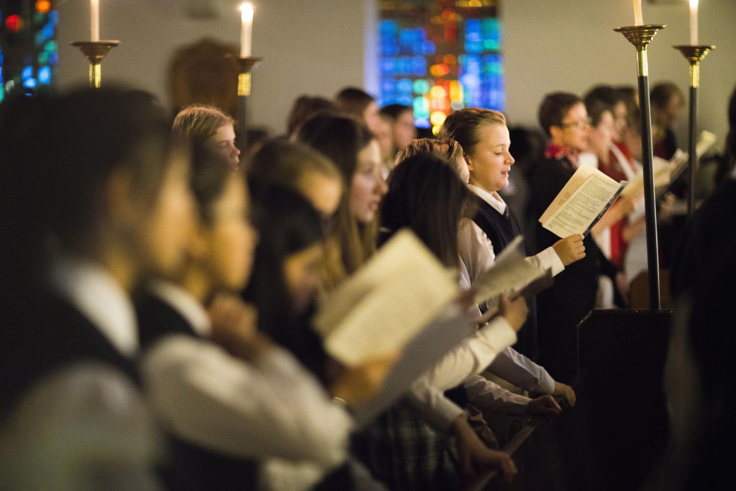 Lessons and Carols of 2018, one of the few events in which the Chapel is used for a religious celebration.