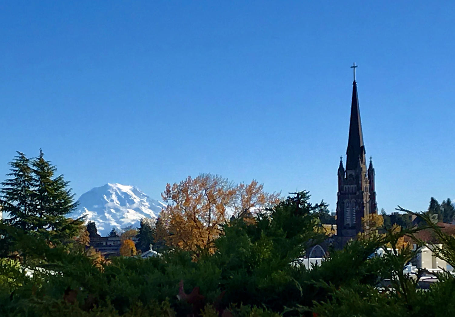 Although the height difference exceeds 14,000 feet, both Mount Rainier and Holy Rosary Catholic Church are significant elements of Tacoma's skyline.