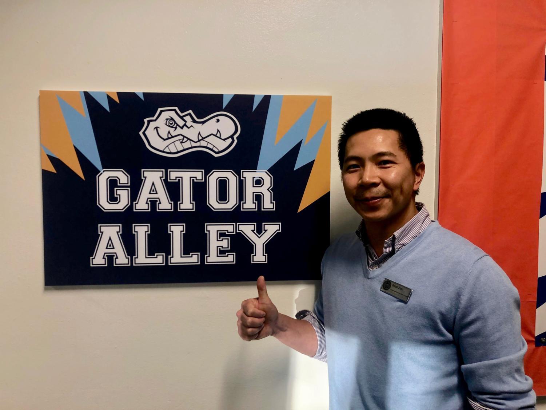 Derek Zhao outside of the newly renamed Gator Alley.