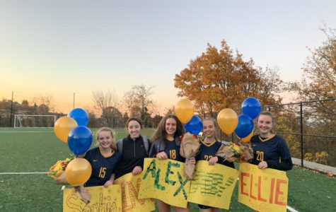 The soccer team had seven senior members this year: (from left to right) Sophie Jeter, Nina Doody, Alexandra Bessler, Bailey Black, and Ellie Crist. Reagan Easter and Cora Shandrow are not pictured.