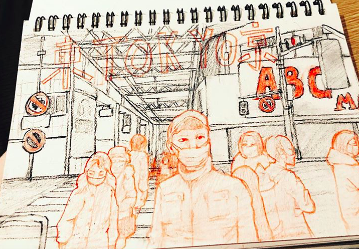 a drawing from sophomore Cynthia Ning's sketchbook