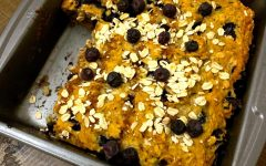 Navigation to Story: Recipe: Clara's Blueberry Banana Oat Bread
