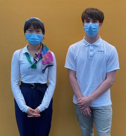 Sasha Zhang (left) and Charles Stringfellow (right) showcase current Annie Wright uniform.